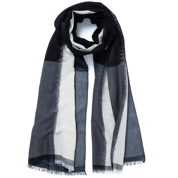 JANE CARR The Batik Wrap in Granite, striped cotton scarf - tied