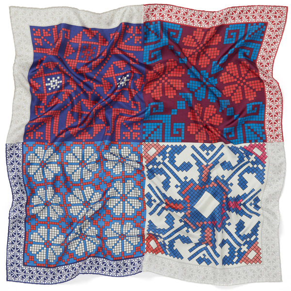 JANE CARR The Boheme Foulard in Bleu-Blanc-Rouge, pure silk twill printed scarf – crinkle