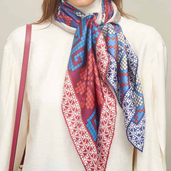JANE CARR The Boheme Foulard in Bleu-Blanc-Rouge, pure silk twill printed scarf – model