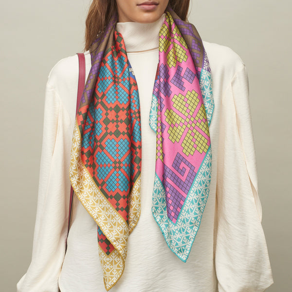 JANE CARR The Boheme Foulard in Folk, pure silk twill printed scarf – model