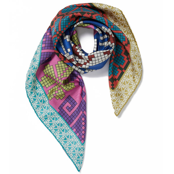 JANE CARR The Boheme Foulard in Folk, pure silk twill printed scarf – tied