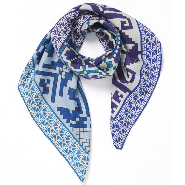 JANE CARR The Boheme Foulard in Ice, pure silk twill printed scarf – tied