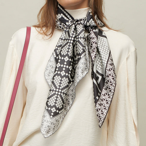 JANE CARR The Boheme Foulard in Poodle, pure silk twill printed scarf – model