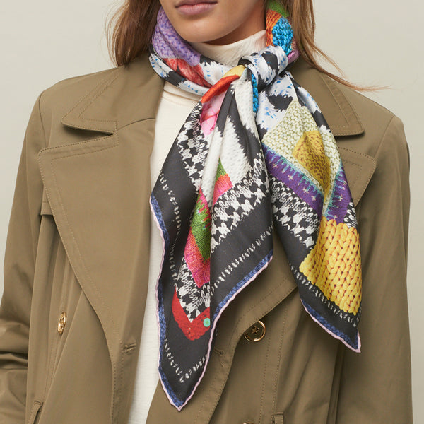 JANE CARR The Tricot Foulard in Firework, pure silk twill printed scarf – tied