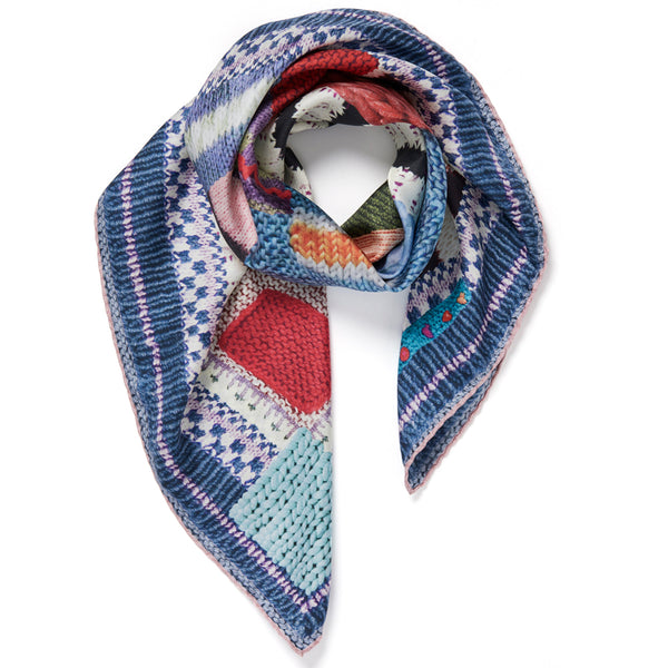 JANE CARR The Tricot Foulard in Hortensia, pure silk twill printed scarf – tied