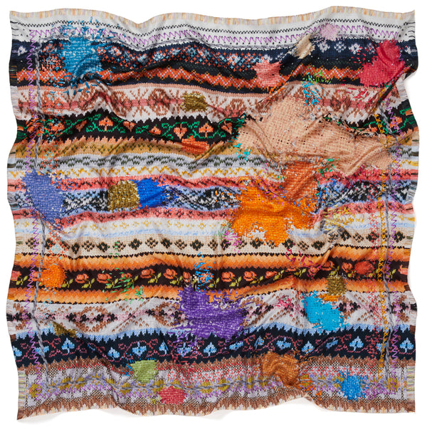 JANE CARR The Fairisle Square in Candy, pure silk twill printed scarf – crinkle