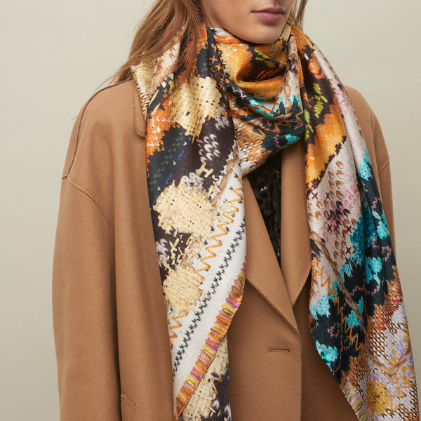 JANE CARR The Fairisle Square in Teddy, pure silk twill printed scarf – model