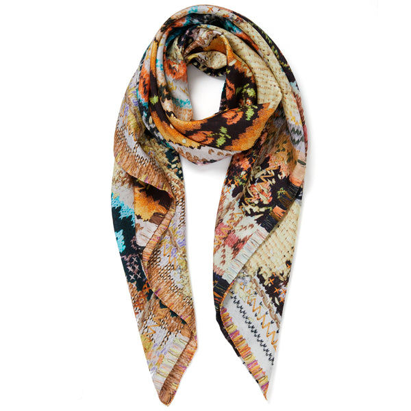 JANE CARR The Fairisle Square in Teddy, pure silk twill printed scarf – tied