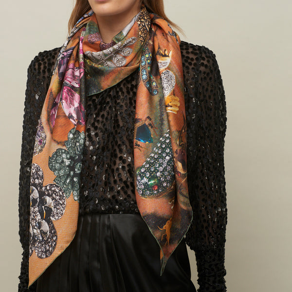 JANE CARR The Colette Square in Candy, pure silk twill printed scarf – model