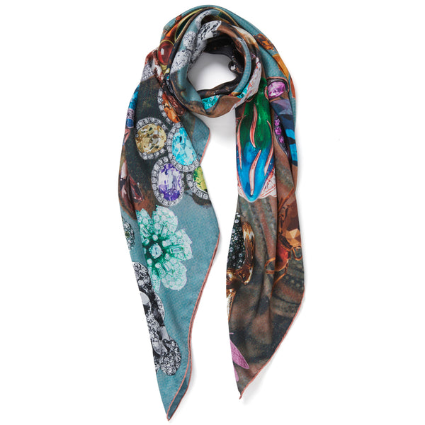 JANE CARR The Colette Square in Ice, pure silk twill printed scarf – tied