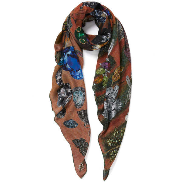 JANE CARR The Colette Square in Candy, modal and cashmere-blend printed scarf – tied