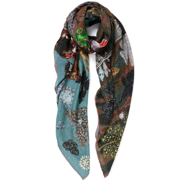 JANE CARR The Colette Square in Ice, modal and cashmere-blend printed scarf – tied