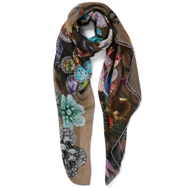 JANE CARR The Colette Square in Taupe, modal and cashmere-blend printed scarf – tied