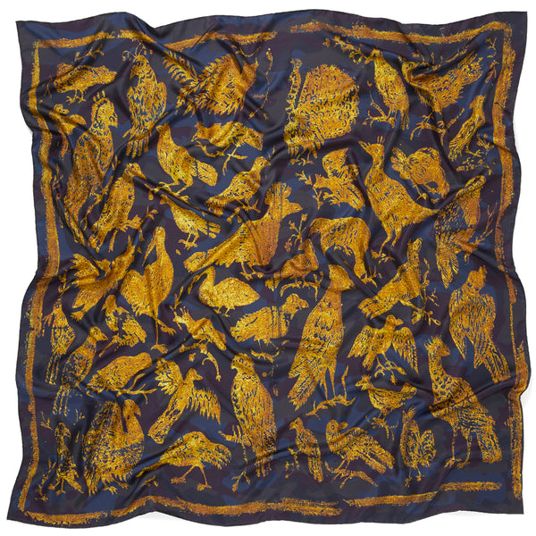 JANE CARR The Oiseaux Square in Amber, pure silk twill printed scarf – crinkle