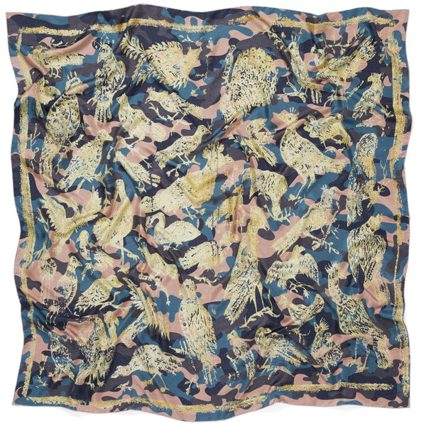 THE OISEAUX SQUARE - Pink and pale gold printed silk twill scarf
