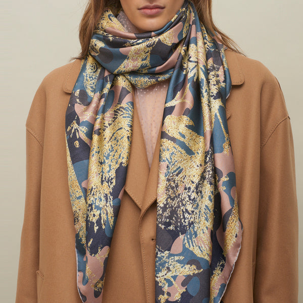 JANE CARR The Oiseaux Square in Hortensia, pure silk twill printed scarf – model