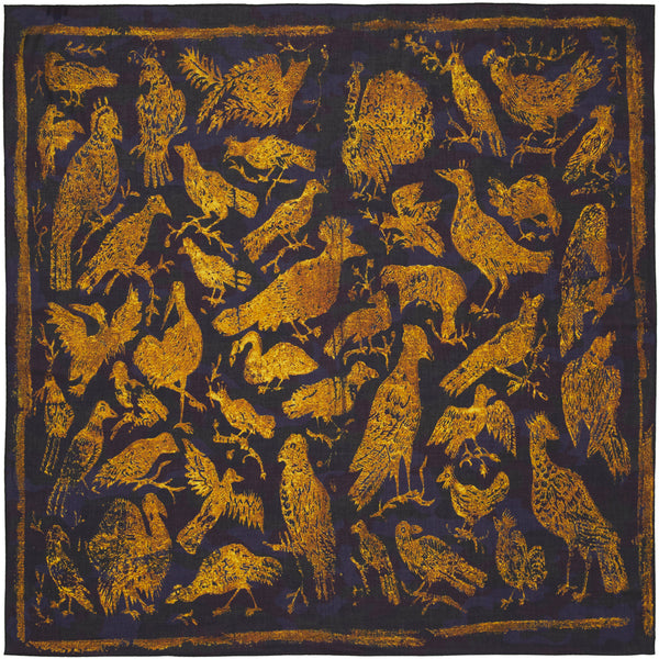 JANE CARR The Oiseaux Square in Amber, modal and cashmere-blend printed scarf – flat