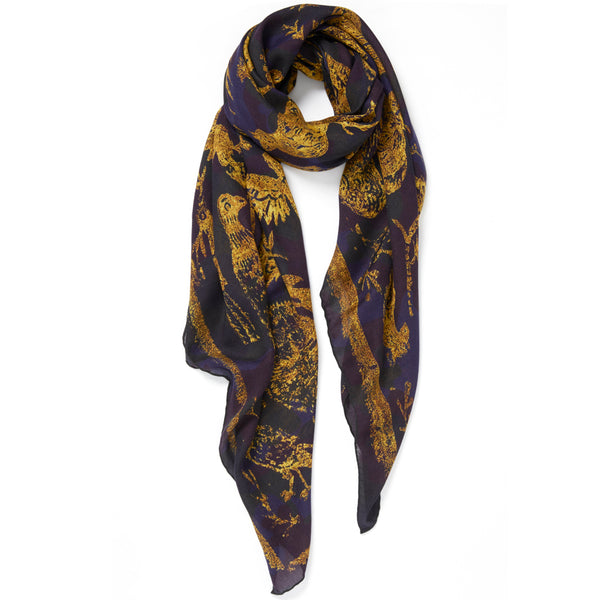 JANE CARR The Oiseaux Square in Amber, modal and cashmere-blend printed scarf – tied