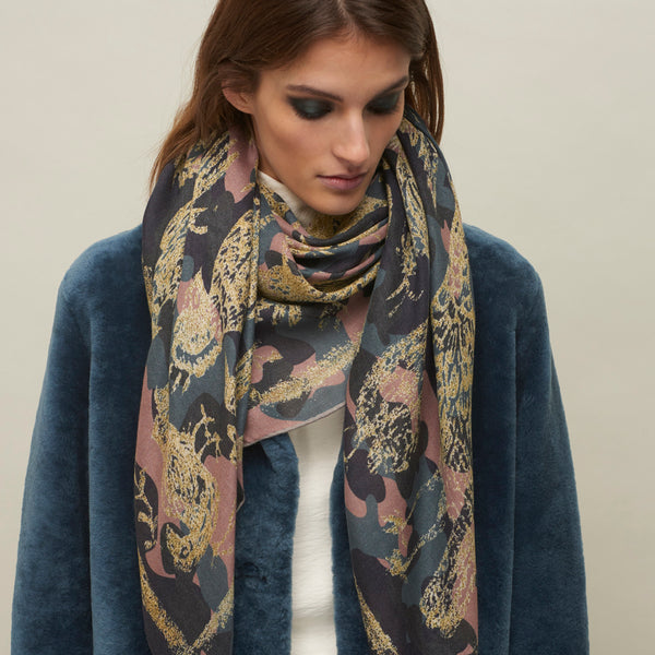 JANE CARR The Oiseaux Square in Hortensia, modal and cashmere-blend printed scarf – model