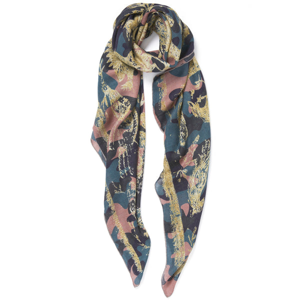 JANE CARR The Oiseaux Square in Hortensia, modal and cashmere-blend printed scarf – tied