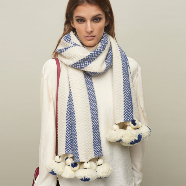 JANE CARR The Pom-Pom Scarf in Ice, wool and cashmere striped scarf with pom-poms – model