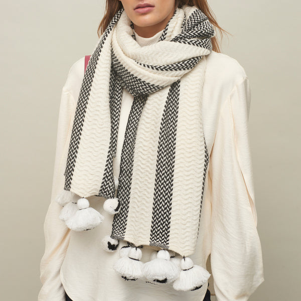 JANE CARR The Pom-Pom Scarf in Poodle, wool and cashmere striped scarf with pom-poms – model