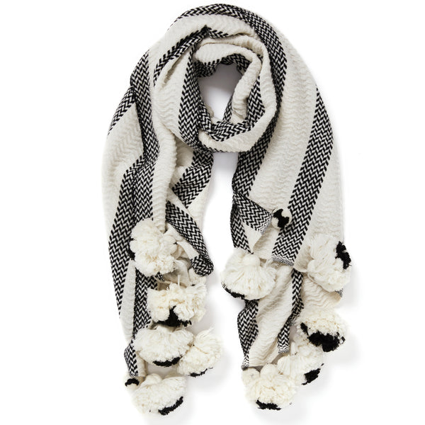 JANE CARR The Pom-Pom Scarf in Poodle, wool and cashmere striped scarf with pom-poms – tied