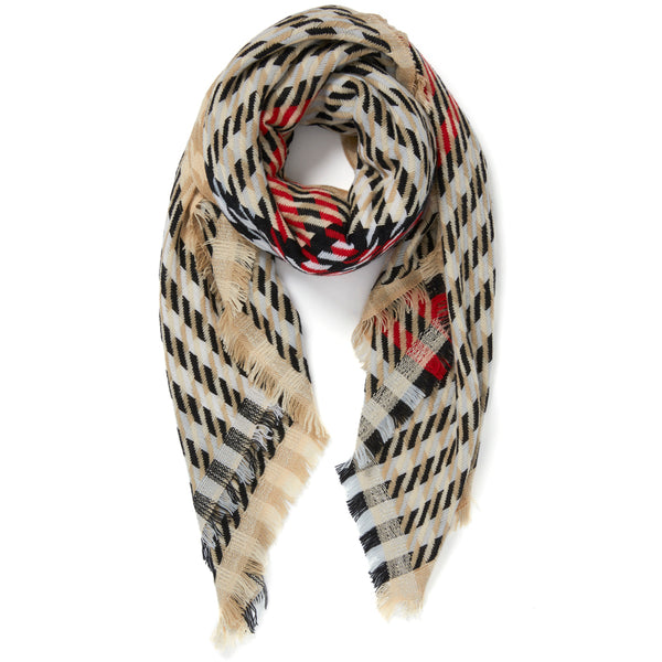 JANE CARR The Houndstooth Square in Beige, checked lambswool cashmere scarf with Lurex – tied