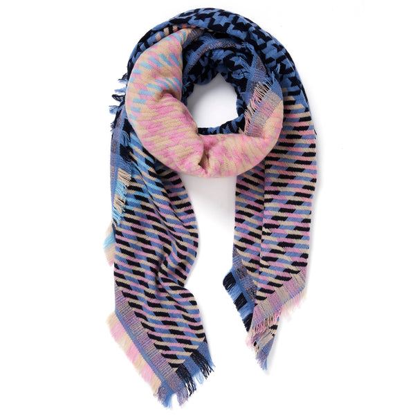 JANE CARR The Houndstooth Square in Hortensia, checked lambswool cashmere scarf with Lurex – tied