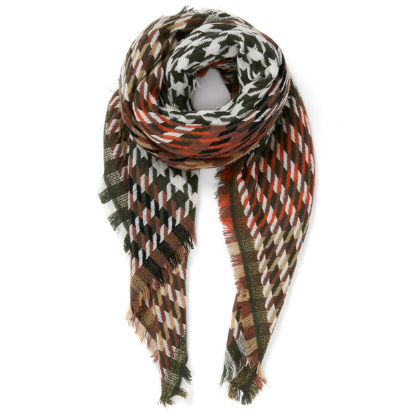 JANE CARR The Houndstooth Square in Khaki, checked lambswool cashmere scarf with Lurex – tied