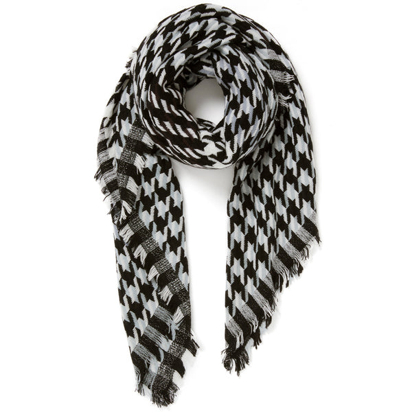JANE CARR The Houndstooth Square in Poodle, checked lambswool cashmere scarf with Lurex – tied