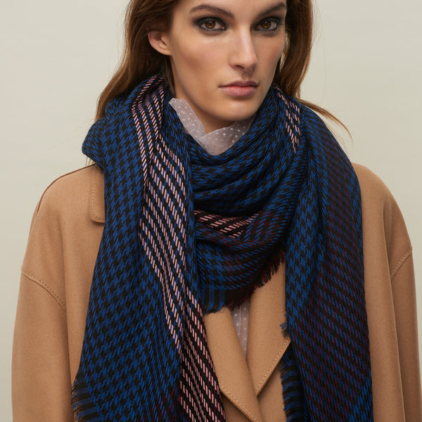 JANE CARR The Heritage Square in Navy, checked lambswool scarf – model