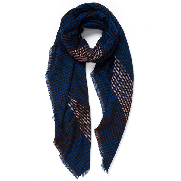 JANE CARR The Heritage Square in Navy, checked lambswool scarf – tied