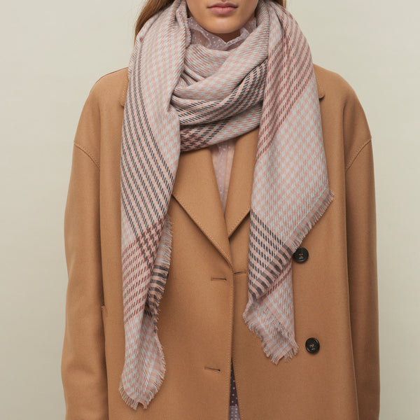 JANE CARR The Heritage Square in Taupe, checked lambswool scarf – model