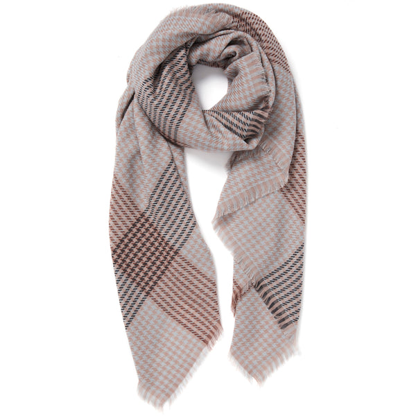 JANE CARR The Heritage Square in Taupe, checked lambswool scarf – tied