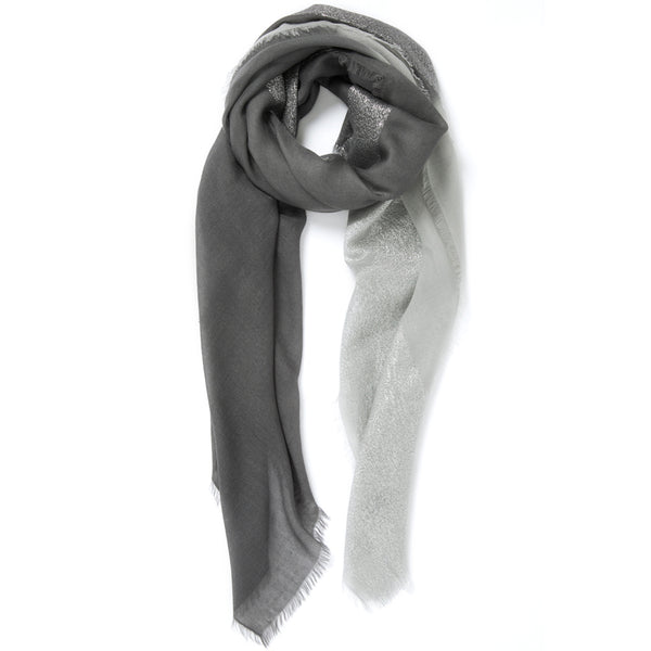 JANE CARR The Block Square in Grey, two tone cashmere scarf with Lurex – tied