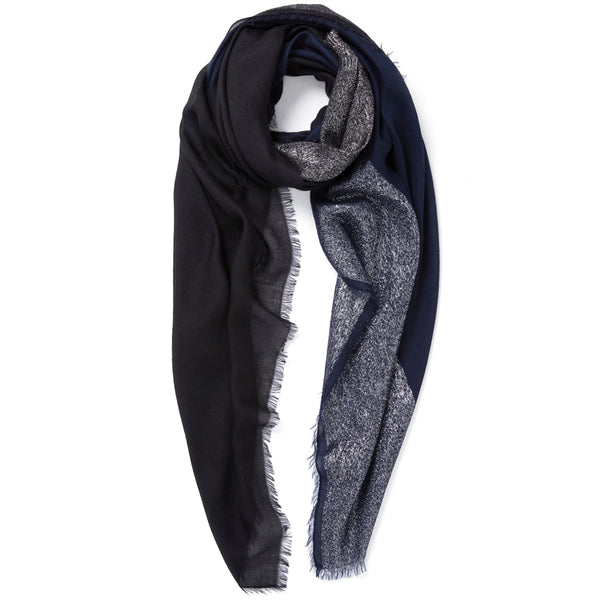 JANE CARR The Block Square in Navy, two tone cashmere scarf with Lurex – tied