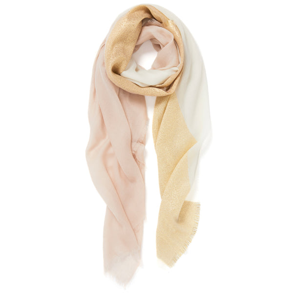 JANE CARR The Block Square in Poodle, two tone cashmere scarf with Lurex – tied