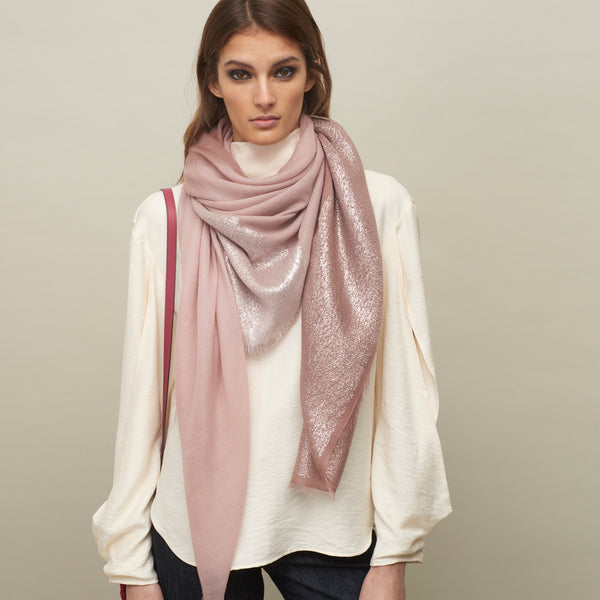 THE BLOCK SQUARE - Pink two tone cashmere scarf with Lurex