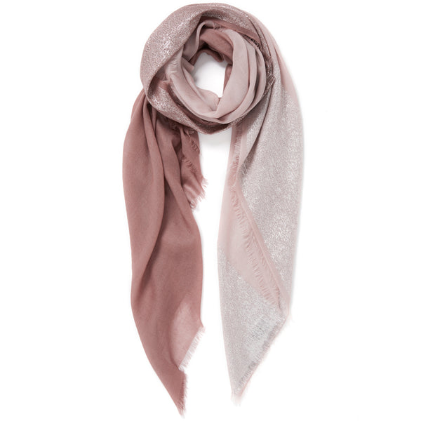 JANE CARR The Block Square in Taupe, pink two tone cashmere scarf with Lurex – tied