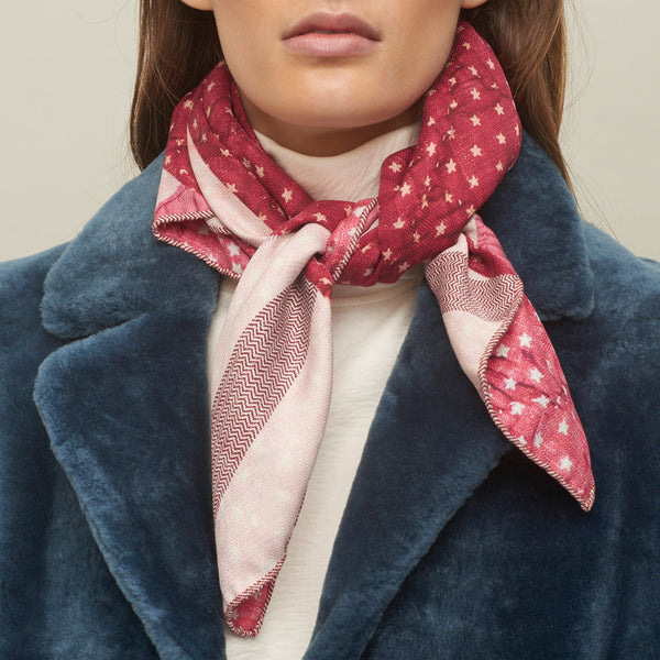 JANE CARR The Quilt Petit Foulard in Amour, pure silk schappe printed scarf – model