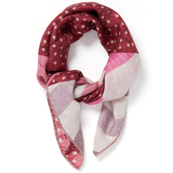 JANE CARR The Quilt Petit Foulard in Amour, pure silk schappe printed scarf – tied