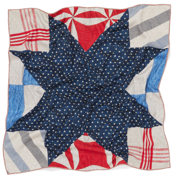JANE CARR The Quilt Petit Foulard in Bleu-Blanc-Rouge, pure silk schappe printed scarf – crinkle