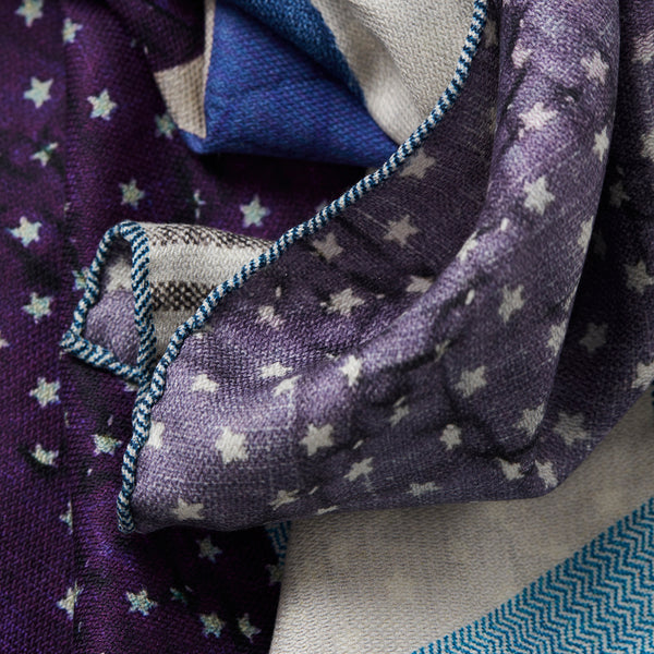 JANE CARR The Quilt Petit Foulard in Blueberry, pure silk schappe printed scarf – detail