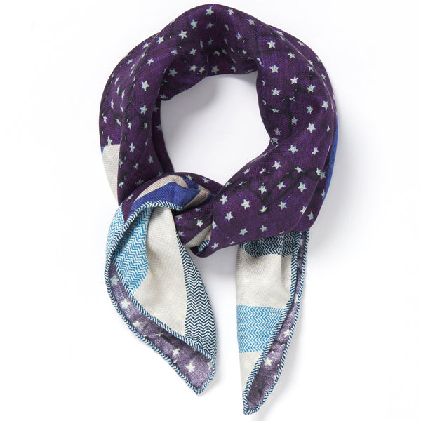 JANE CARR The Quilt Petit Foulard in Blueberry, pure silk schappe printed scarf – tied