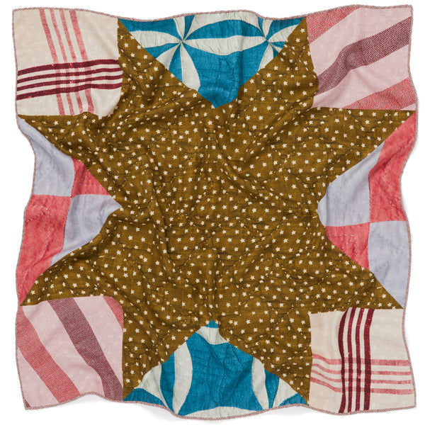 JANE CARR The Quilt Petit Foulard in Khaki, pure silk schappe printed scarf – crinkle
