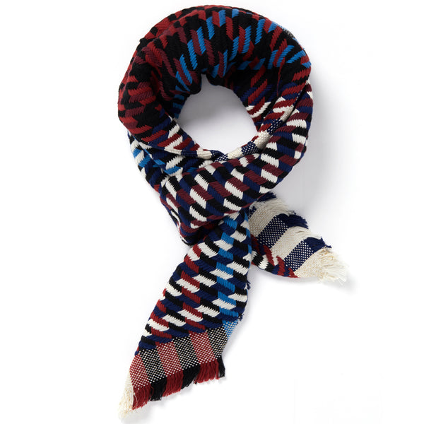 JANE CARR The Puppy Tooth Square in Bleu-Blanc-Rouge, mini checked cotton and Lurex scarf – tied