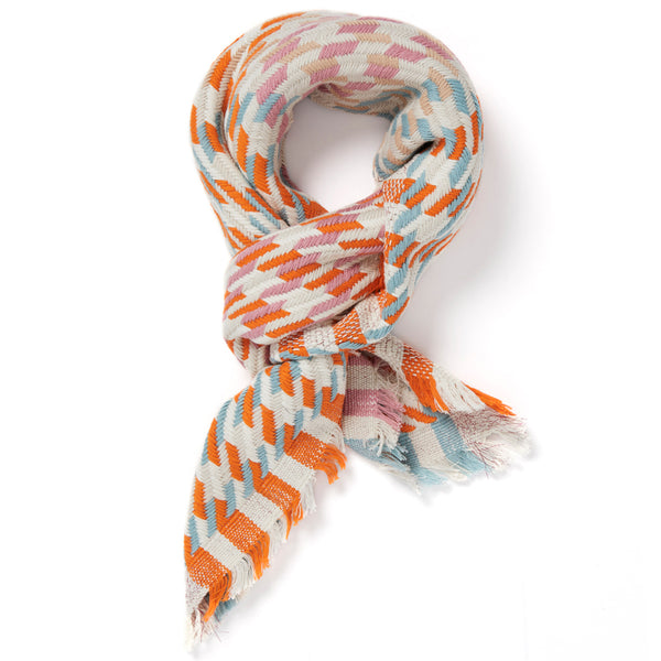 JANE CARR The Puppy Tooth Square in Candy, mini checked cotton and Lurex scarf – tied
