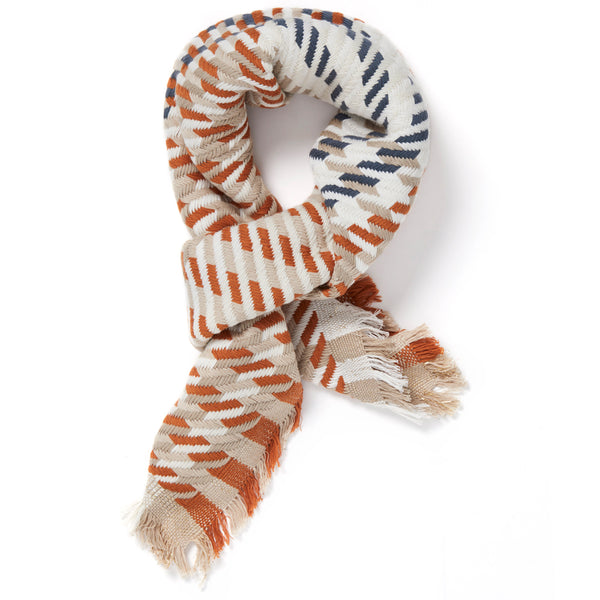 JANE CARR The Puppy Tooth Square in Nut, mini checked cotton and Lurex scarf – tied