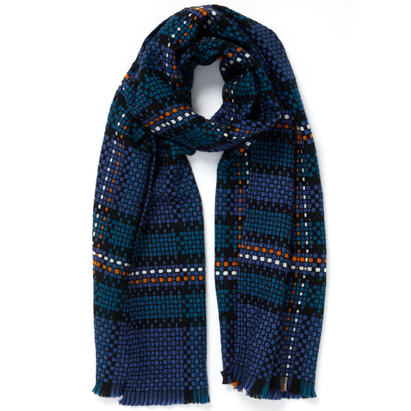 JANE CARR The Plaid Scarf in Denim, woven wool grid scarf – tied